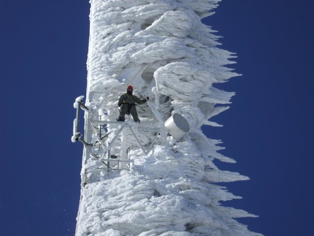 A tower after a snow storm