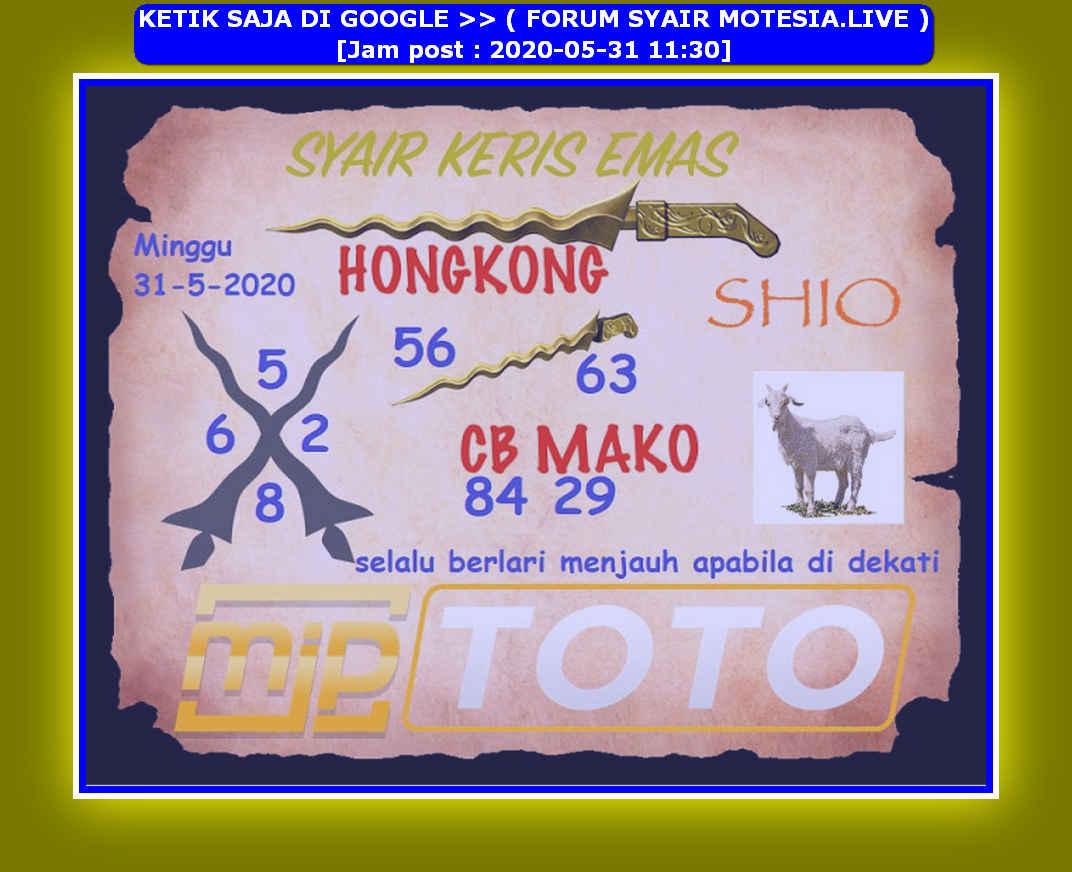 Kode syair Hongkong Minggu 31 Mei 2020 286