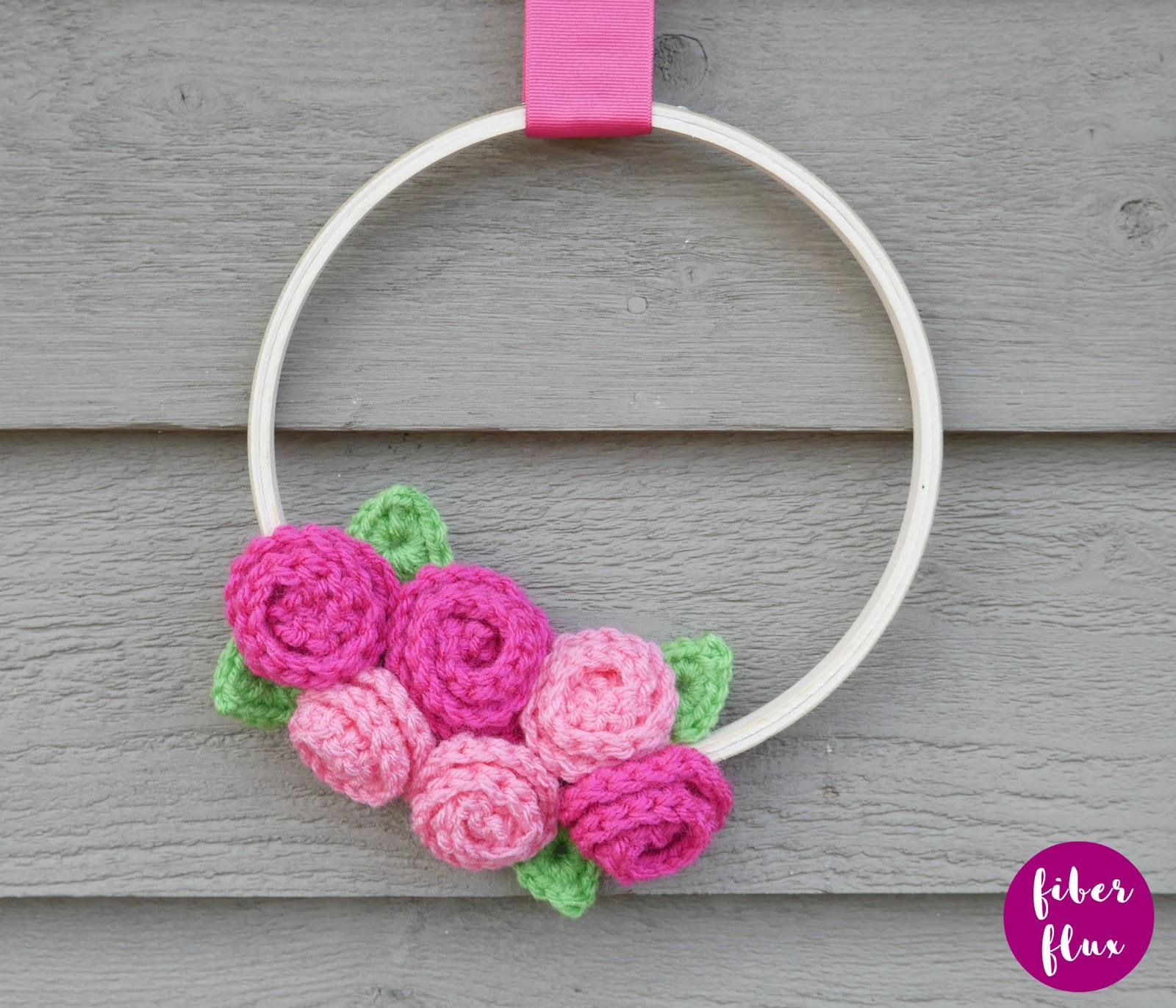 Fiber Flux Rose Bouquet Embroidery Hoop Wreath Free Crochet Pattern