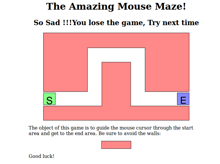 Simple Mouse Mover MAZE game in JQuery ~ Coding Workspace
