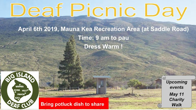 April 6th, Mauna Kea Recreation Area (at Saddle Road) Time 9 am to pau. Dress Warm ! Bring potluck dish to share. Upcoming events; May 11, Charity Walk