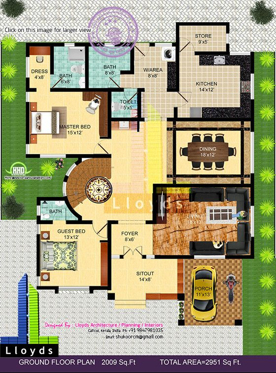 2951 Sqft 4 Bedroom Bungalow Floor Plan And 3D View