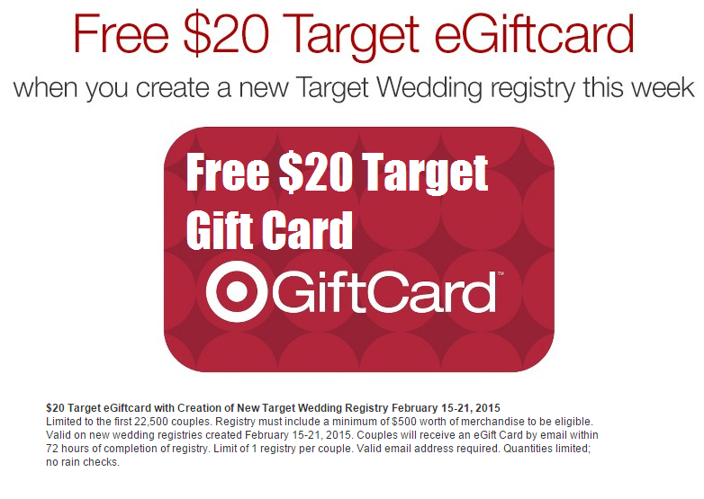 Wedding Registry Free Gifts: Getting Married? Free $20 Target Gift Card When You Create