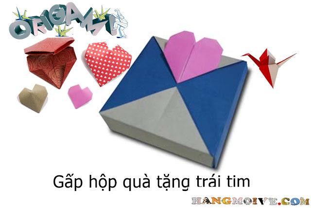 Cách gấp, xếp hộp quà tặng vuông hình trái tim bằng giấy origami - Video hướng dẫn