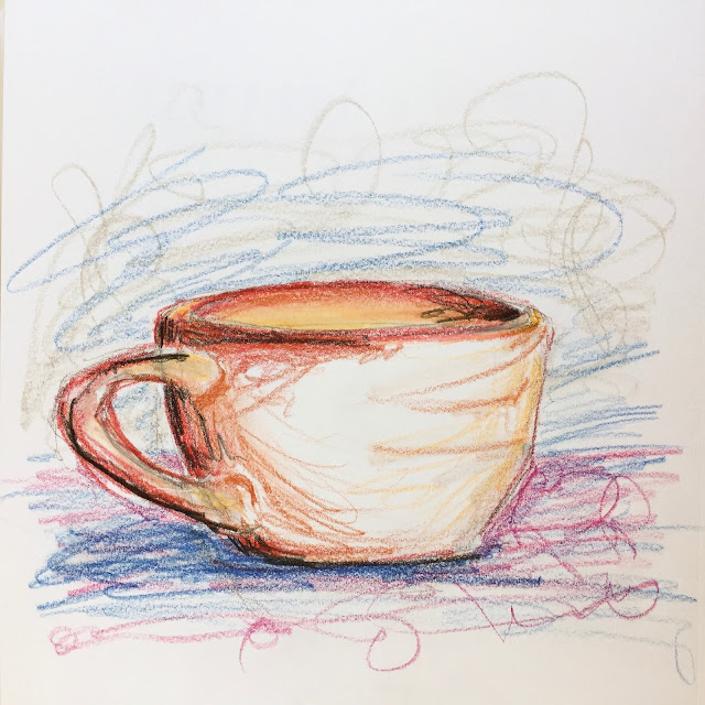 Daily Art 09-24-17 loose and gestural mug study in Polychromos colored pencils Canson XL Mix Media sketchbook