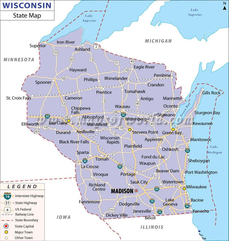 Map Of Wisconsin State Map Of America - Wisconsin on a us map