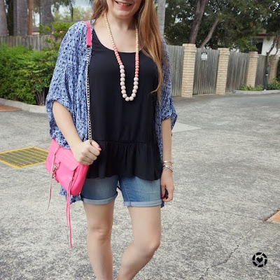 awayfromtheblue Instagram | summer denim shorts peplum tank and printed kimono outfit with pink accessories