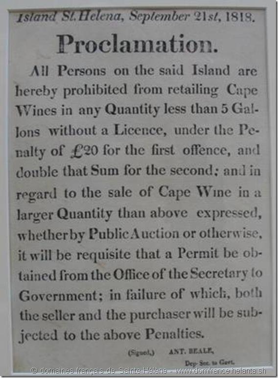 « Public Notice » du 21 septembre 1818 – « Proclamation » - Annonce publique concernant les conditions de distribution du vin d'Afrique du Sud et les licences accordées. – Il s'agit ici de la plus ancienne publication publique imprimée par les services du gouvernement de Sainte-Hélène qui nous soit parvenue. – Collection Michel Dancoisne-Martineau