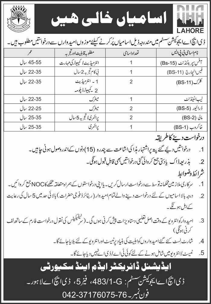 DHA Education System Jobs in Lahore 2019