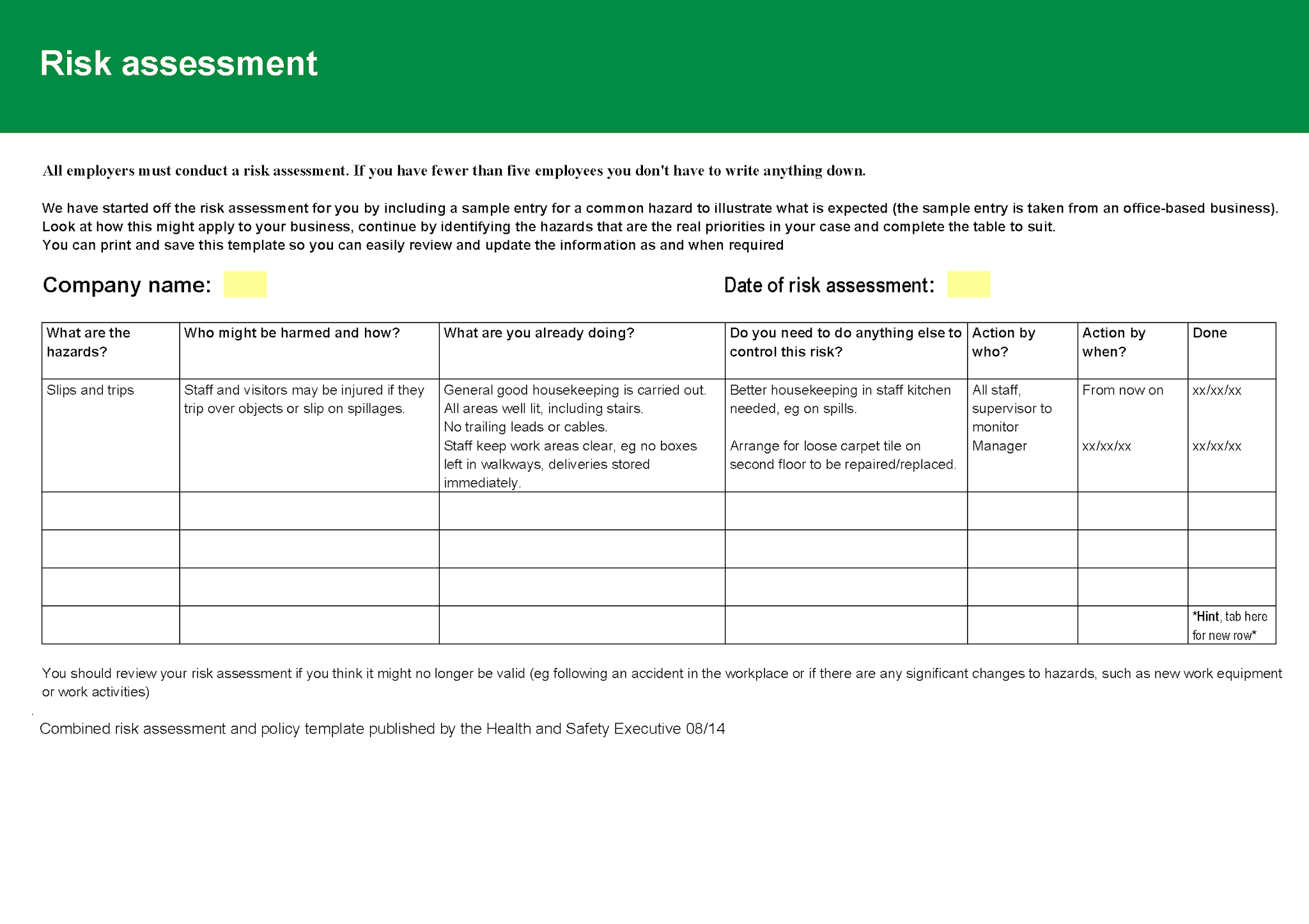 Risk assessment policy template