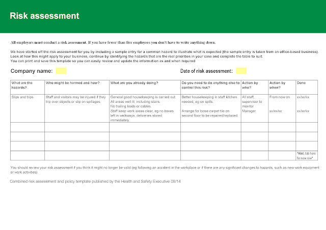 risk assessment and policy template microsoft word