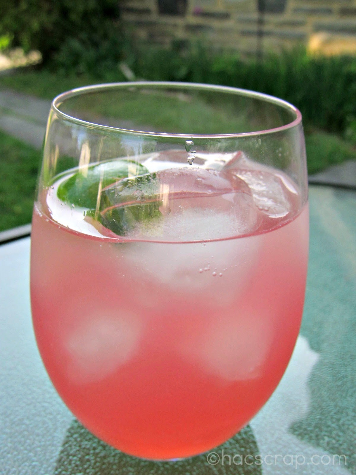 Pink Lemonade Coctail - Vodka, Pink Lemonade & Lime over ice