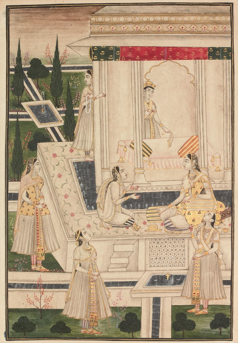 seven Royal Women in a Palace, surrounded by Garden - Miniature Painting, Deccan, 18th Century