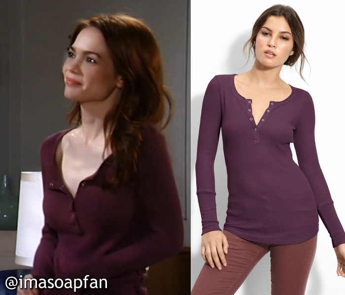Elizabeth Webber, Rebecca Herbst, Purple Thermal Henley, Splendid, GH, General Hospital