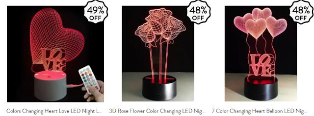 Wishlist Loja Gamiss Valentine's Day Sale, decoração, luminárias, dia dos namorados