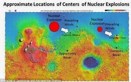 This image shows two locations evidence of nuclear explosions on Mars