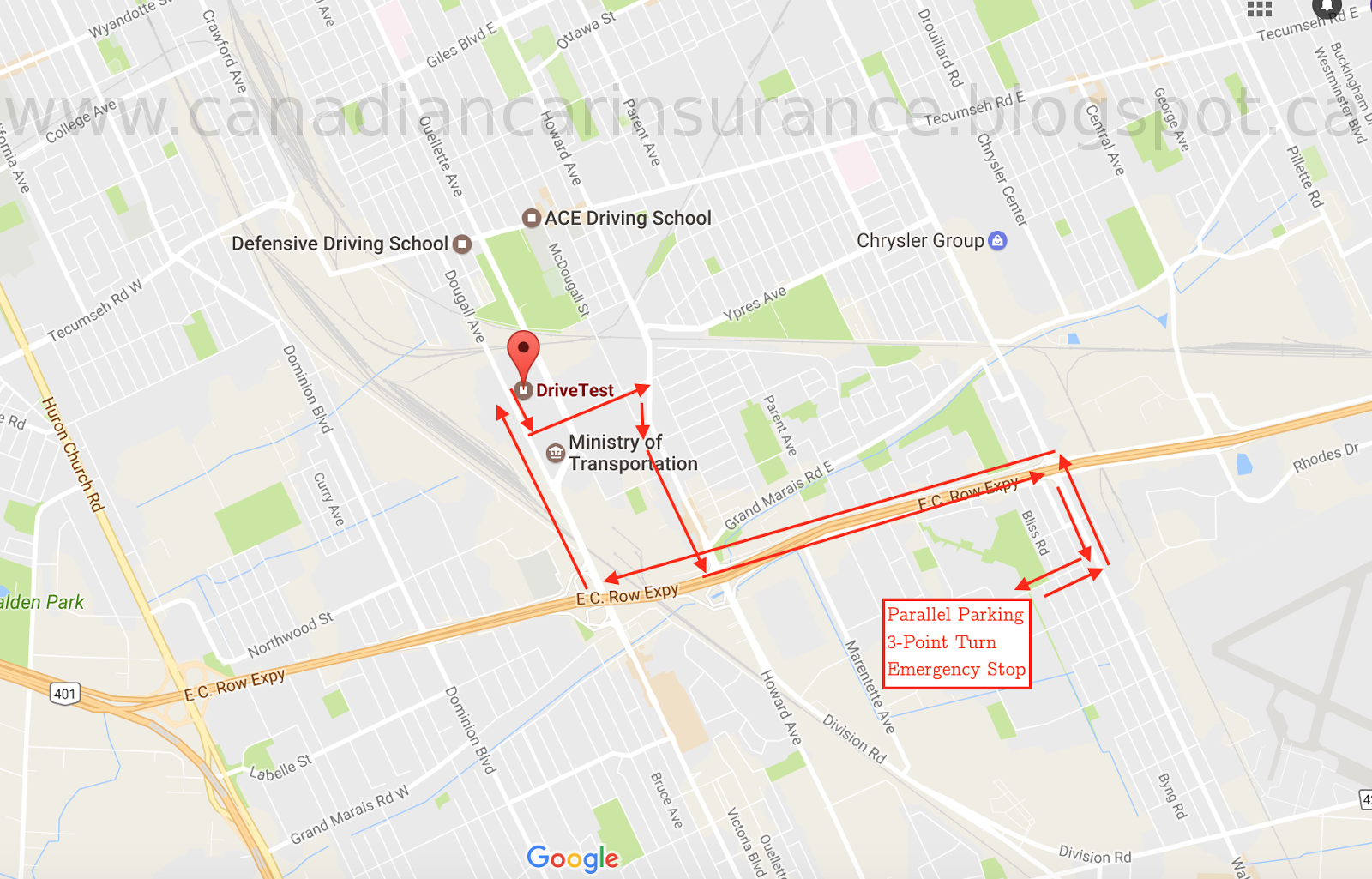 Windsor G Road Test Route Map