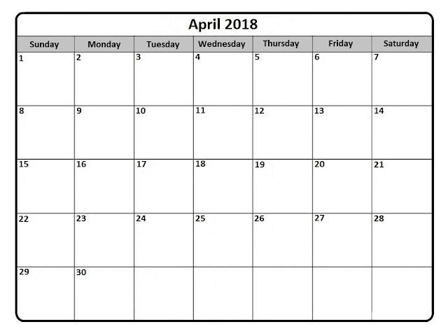 Print April 2018 Calendar, April 2018 Calendar Printable, April 2018 Calendar Template, April 2018 Calendar PDF, April 2018 Printable Calendar, April 2018 Blank Calendar