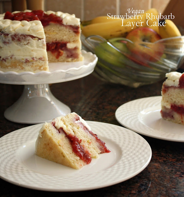 vegan strawberry rhubarb layer cake