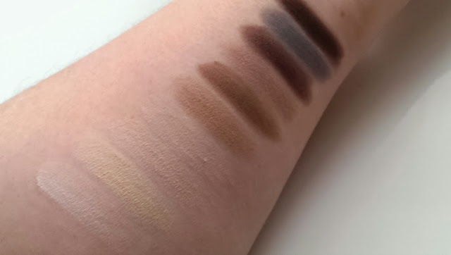 Swatches of the MUA ever after matte palette on my arm