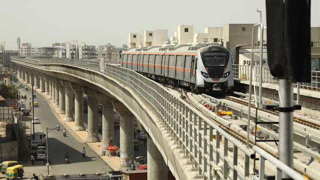 Image Attribute: The launch of the first phase of Metro-Link Express for Gandhinagar and Ahmedabad (MEGA) on March 6, 2019 / Source: PTI