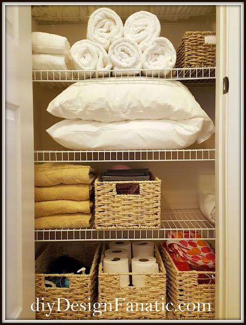 linen closet, closet , Organization, Organize, Cottage, Cottage Style, Farmhouse Style