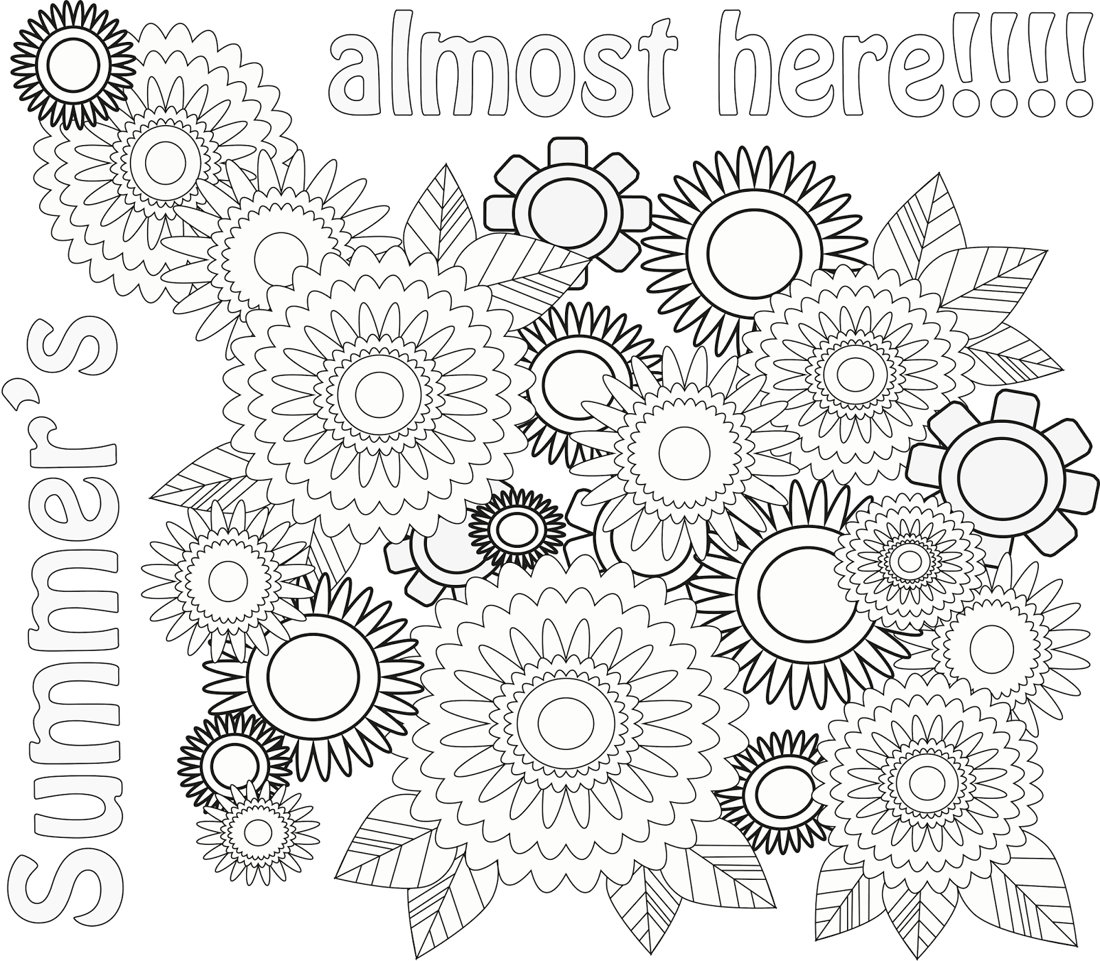 Summer is here coloring pages - And A Bonus Coloring Sheet To Celebrate Summer A Huge Thank You To Wegraphics For The Easy To Follow Tutorial On Making These Flowers