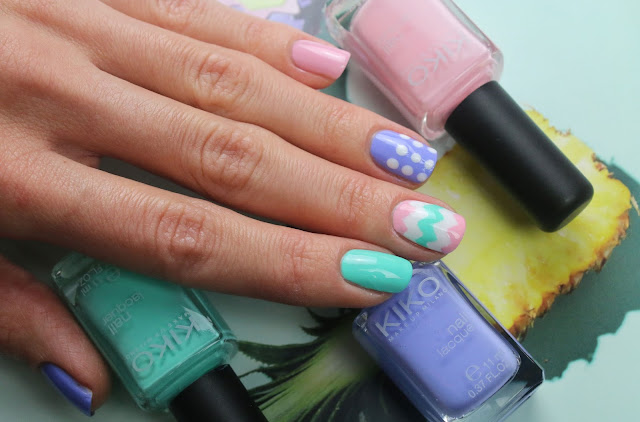 Easter nail design with chevron and polka dots
