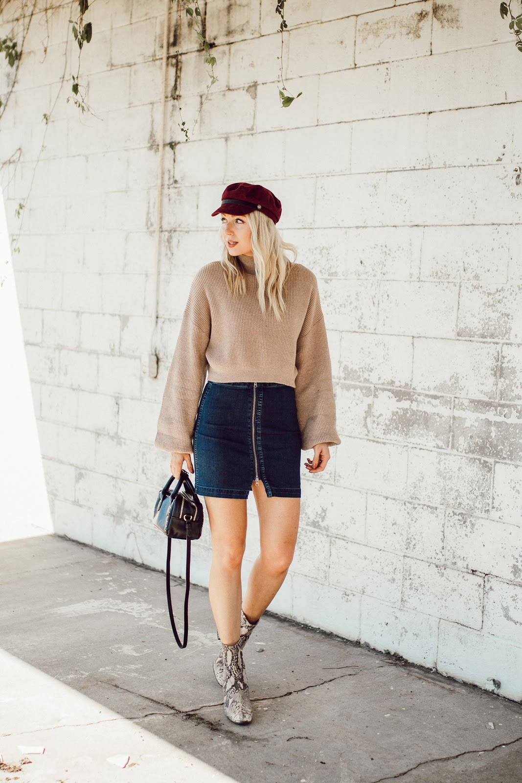 denim mini skirt for fall