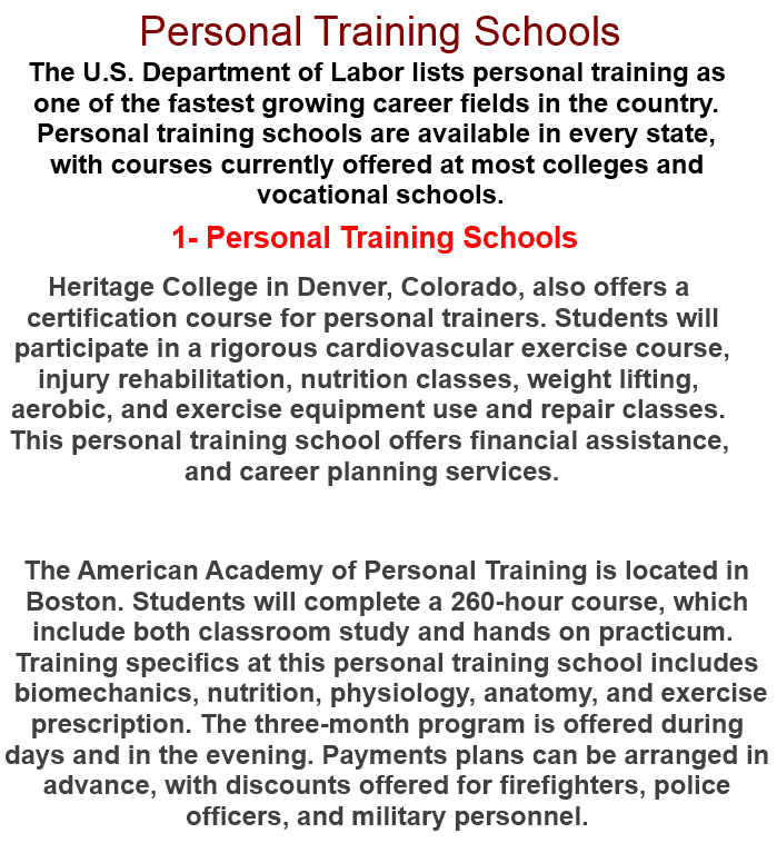 Personal Training Personal Training Schools
