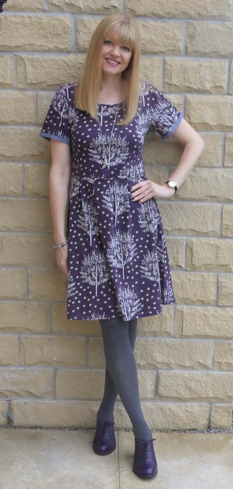 Purple Braintree dress with purple high-heeled brogues