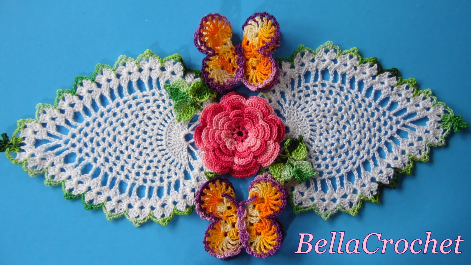 Bellacrochet carol a free crochet doily pattern for you 3 glue butterflies to doily as shown in photo glue leaf sprays to doily as shown allow to dry bankloansurffo Images