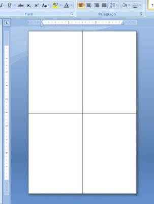 dividing word document into four