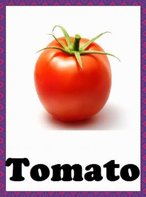 Kindergarten Worksheets Vegetables Flashcards Tomato