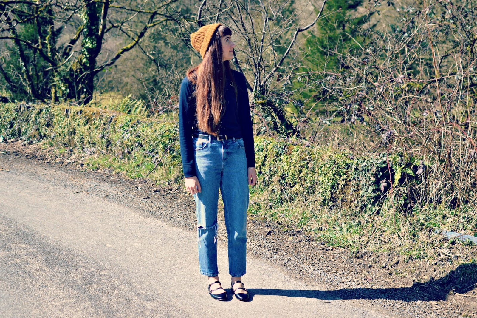 ASOS jeans, topshop boutique, Topshop ballet shoes, Monki hat