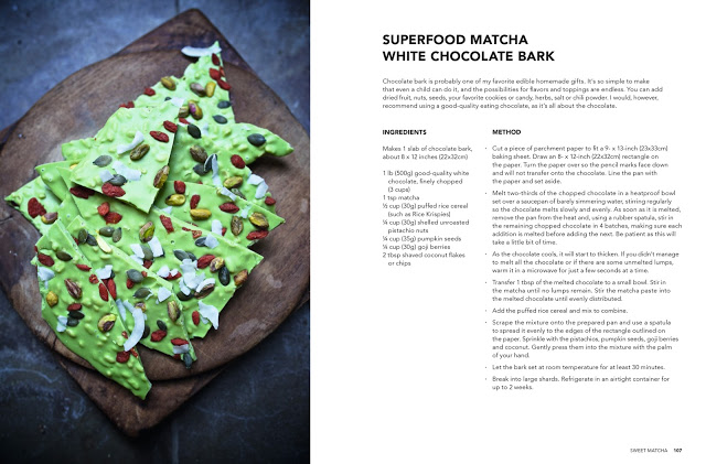 Superfood Matcha White Chocolate Bark, Matcha The Cookbook by Gretha Scholtz