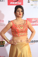 Harshika Ponnacha in orange blouuse brown skirt at Mirchi Music Awards South 2017 ~  Exclusive Celebrities Galleries 079.JPG