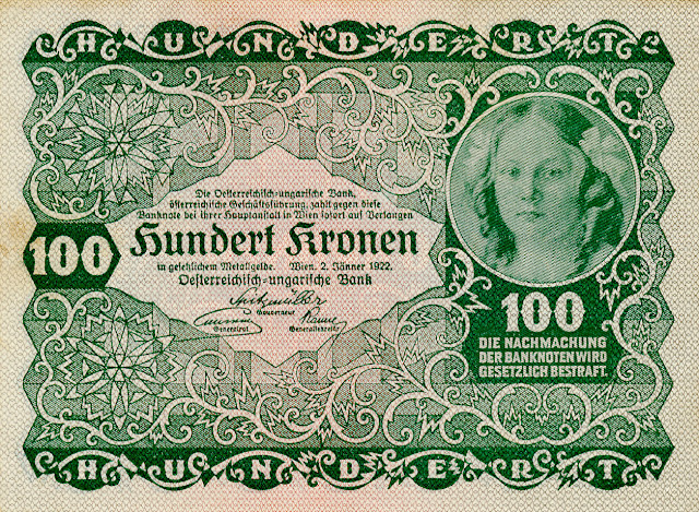 Austrian Currency 100 Kronen banknote 1922 Princess Berthe of Rohan