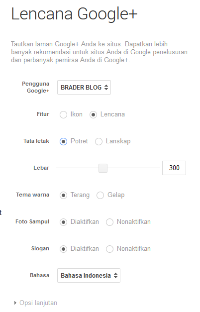 Memasang Lencana Google Plus dengan Mode Script