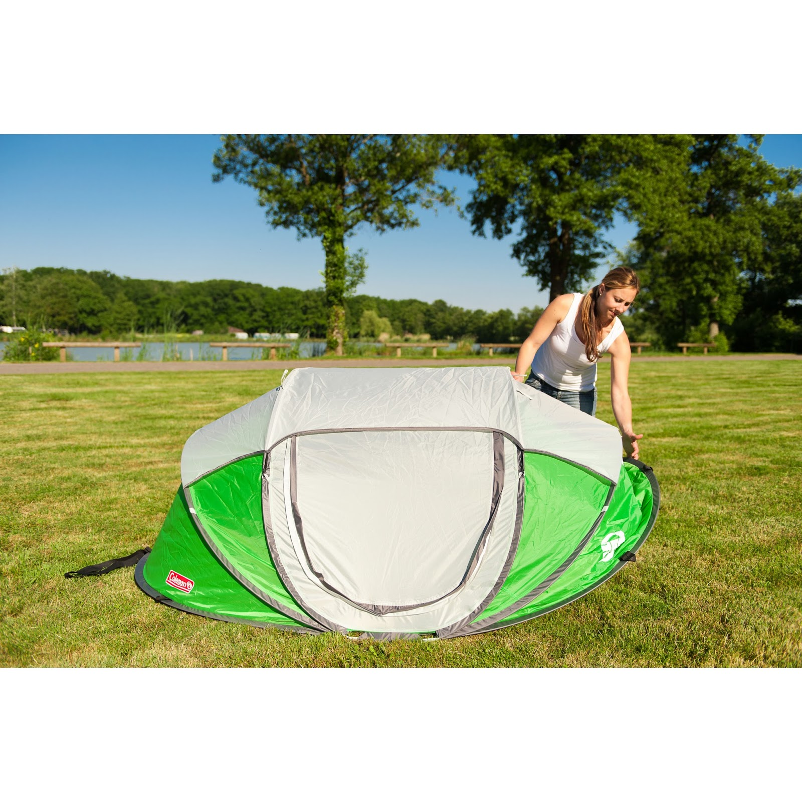 ... Pop Up Tent from #Coleman has just arrived here in Little Paxton  a Fastpitch POP Up Tent in a striking Green u0026 White Colour Combination.  sc 1 st  IBEX C&ing Blog : coleman 4 person instant up tent - memphite.com