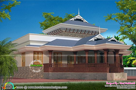 1920 sq-ft Kerala traditional single floor villa
