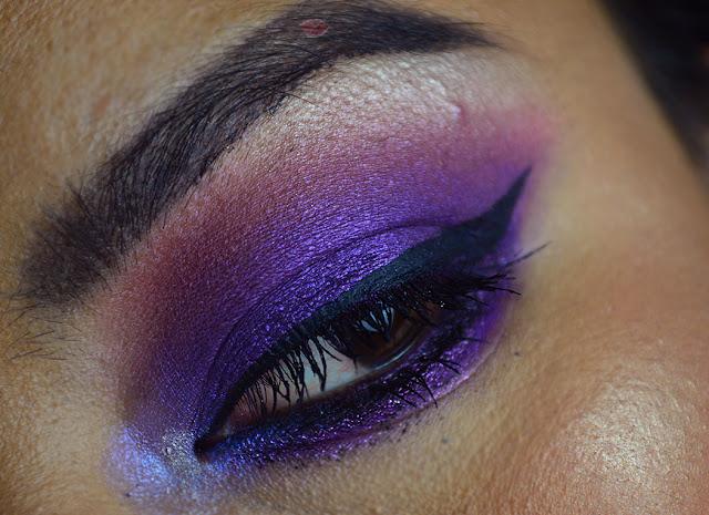 makeup look using good vibes palette by mulac cosmetics, purple smokey, purple eyeshadow, Ciny, la cindina, in the mood, bro,, african love, snuggly
