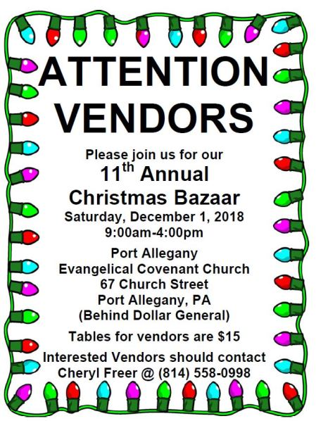 12-1 Vendors Wanted Christmas Bazaar