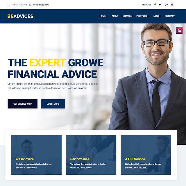 Beadvicese - Business and Financial WordPress Theme WordPress Theme