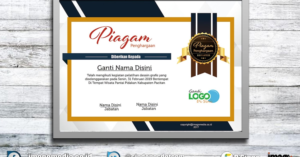 Contoh Sertifikat Penghargaan Frame Emas  Imago Media