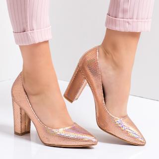 Pantofi cu toc gros de zi eleganti aurii ieftini
