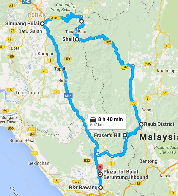 Ride To Cameron Highland Through Simpang Pulai Fraser Hill