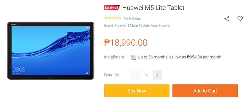 MediaPad M5 lite price at Lazada