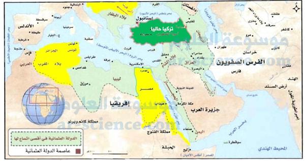 المنطقة التي تقوم عليها تركيا الآن. حركة التراجع وتقلص الدولة العثمانية .