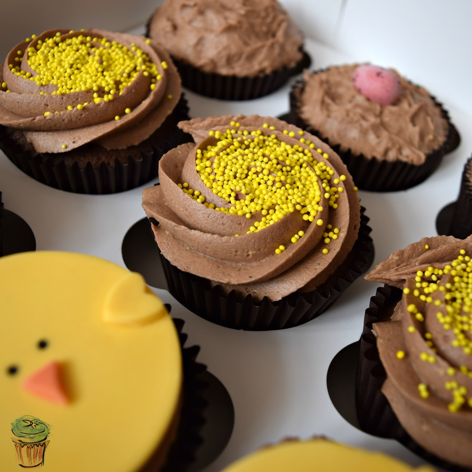 Cupcakes, Chic, Yellow, Chocolate, Easter, 2016, Cute, Easy, Fondant, Face